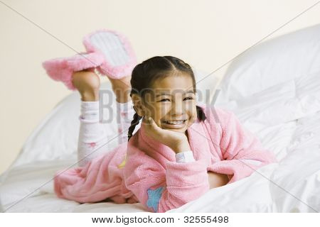 Portrait of Pacific Islander girl wearing pajamas