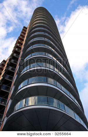 Looking Up Side Of Modern Luxury Apartment Balconies