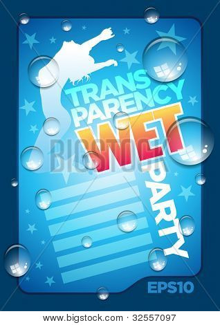 Vector wet poster template. Transparent water drops, text and background are separated layers. Easy editable. EPS10
