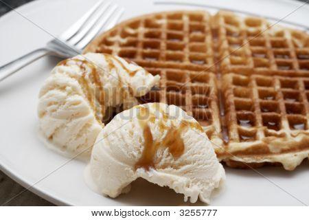 Baked Waffle With Ice-Cream