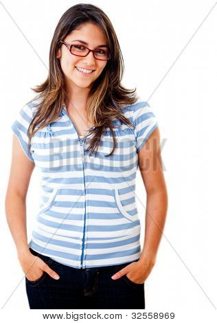 Happy casual woman wearing glasses - isolated over a white background