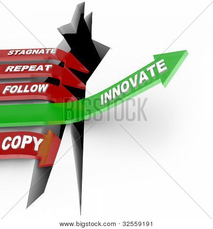 The word Innovate on a green arrow jumps over a crack representing a challenge or adversity, while several red arrows marked Stagnate, Repeat and Copy decline and lose the competition