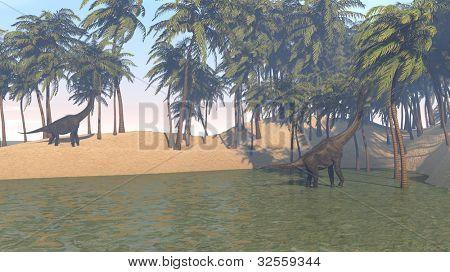 brachiosaurus grazing on shore