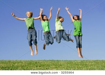 Group Kids Jumping