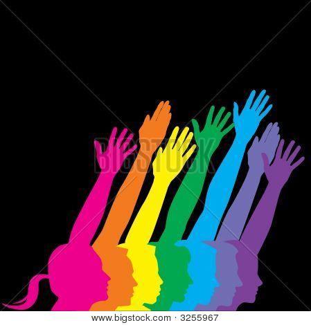 Arco iris de manos de perfiles