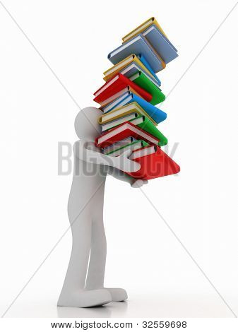 3d man holding stack of books