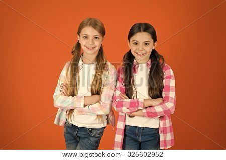 poster of Girls Usually Let Their Hair Grow Long. Healthy And Shiny Hair. Kid Cute Child With Long Adorable Ha