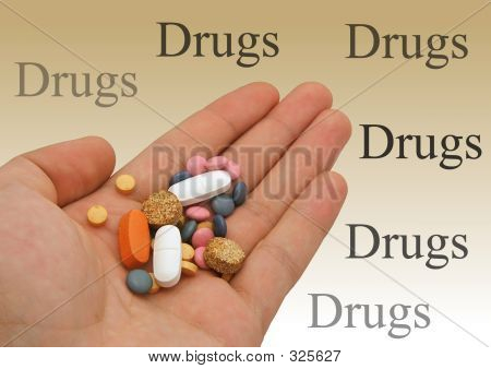 Drugs In Hand With Background