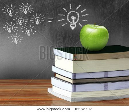 Apple Over Books Background Blackboard
