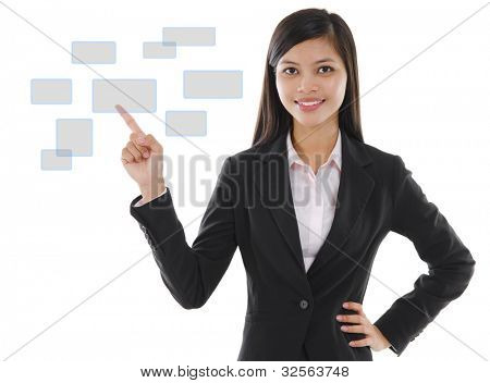 Young mixed race pan asian business woman pointing on virtual screen button