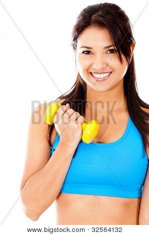 passen Sie Frau Aufhebung Gewichte isoliert auf einem weißen Hintergrund