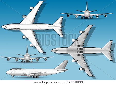 White Airplane In Five Orthogonal Position