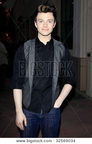 LOS ANGELES, CA - MAY 1: Chris Colfer at the Glee academy screening and Q&A at the Leonard H Goldenson Theater on May 1, 2012 in Los Angeles, California