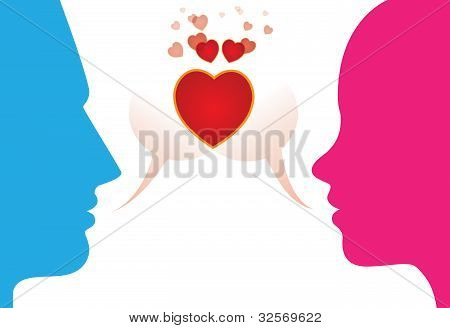 Romantic Young Couple Expressing Love By Chattting