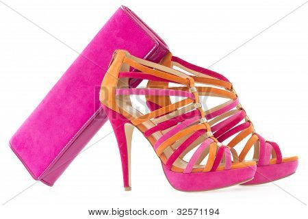 Pink And Orange Shoes With Matching Bag, Isolated
