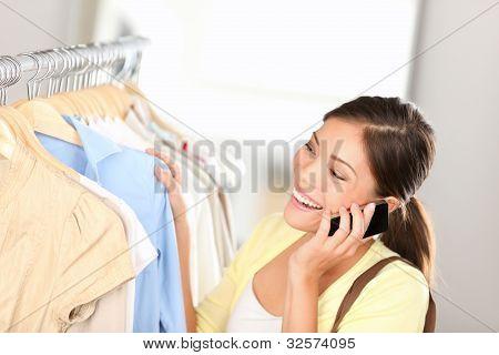 Shopping Woman Talking On Phone