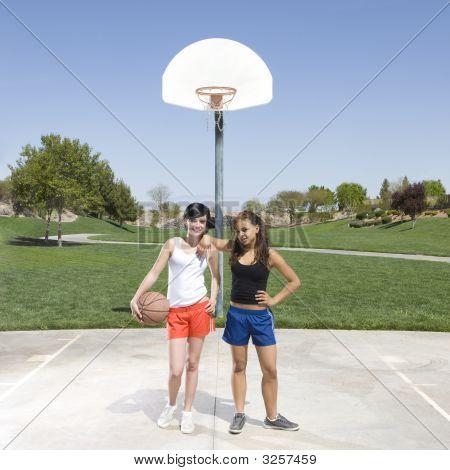 Teens Hang Out At Basketball Court