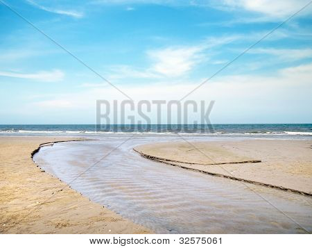 Track Of Boat On Beach, Huahin, Thailand