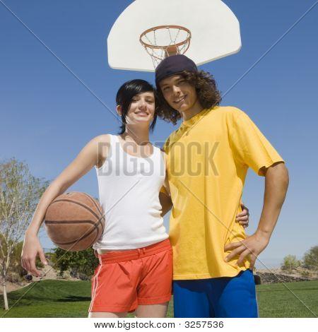 Teen Basketball Couple