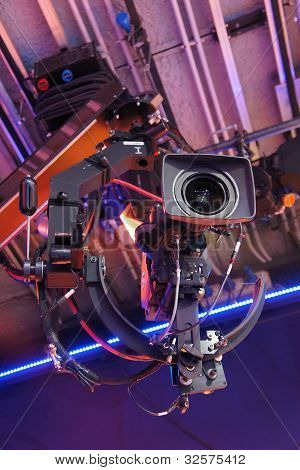 Television Cameras In Tv Studio