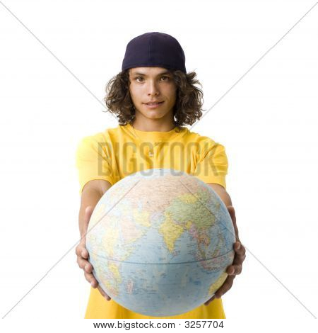 Boy Holds Out Globe