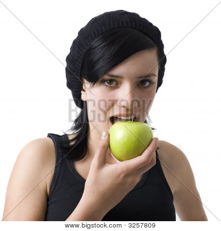 Girl Eats An Apple