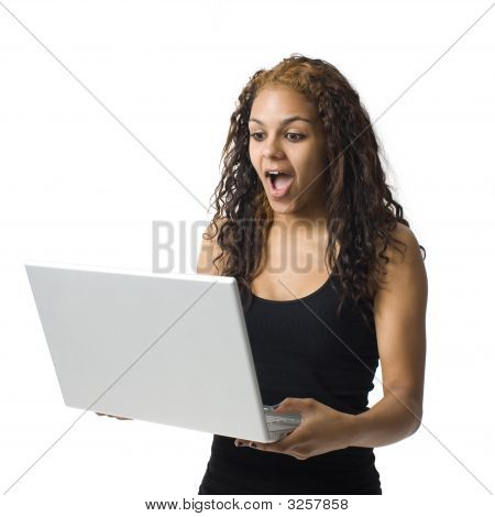 Surprised Girl With Laptop