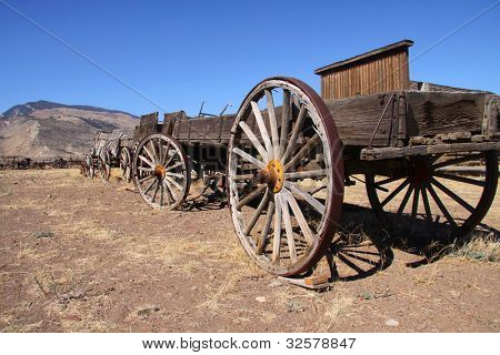 Old carts near Cody Wyoming in a Ghost town