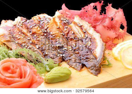 Sashimi Unagi On A Board Closeup