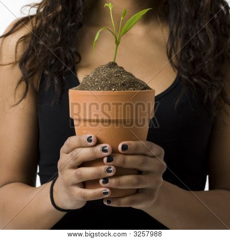 Girl With Potted Plant