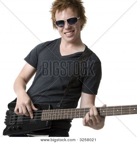 Rocking Dude With Electric Bass Guitar