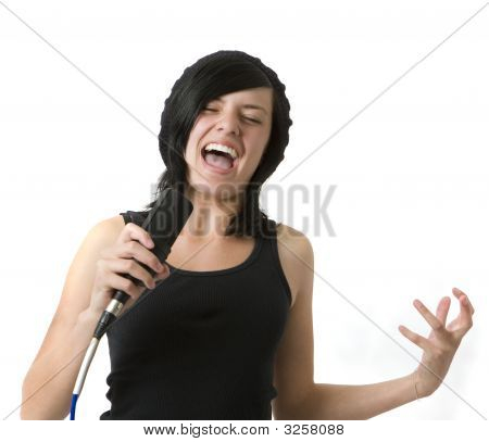 Girl Sings And Gestures