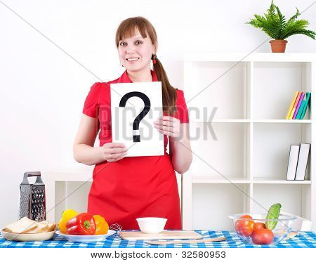 girl holding question sign