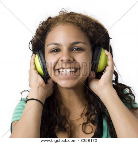 Girl With Green Headphones
