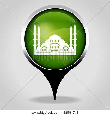 mosque, Realistic interface button with the tourist sign. File is saved in AI10 EPS version. This illustration contains a transparency