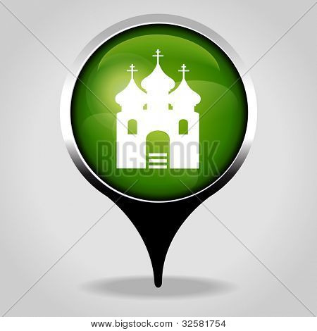 Orthodox Church, Realistic interface button with the tourist sign. File is saved in AI10 EPS version. This illustration contains a transparency