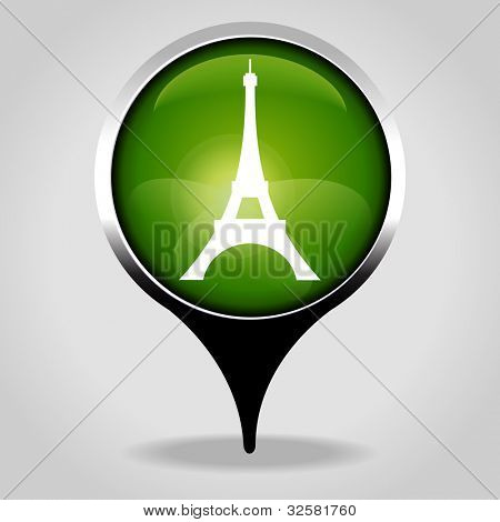 Eiffel tower, Realistic interface button with the tourist sign. File is saved in AI10 EPS version. This illustration contains a transparency