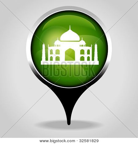 Taj Mahal, Realistic interface button with the tourist sign. File is saved in AI10 EPS version. This illustration contains a transparency