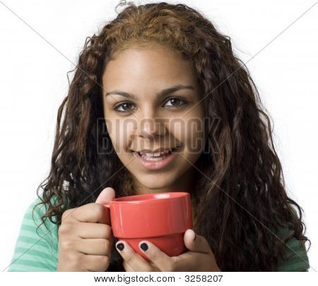 A Girl With A Red Cup Smiles