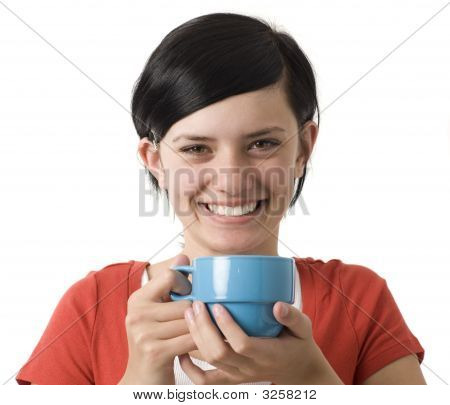 Girl With Cup Smiles