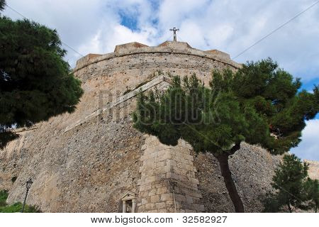 Round bastion of medieval castle in Milazzo, Sicily