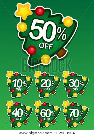 Christmas tree discount vector sticker
