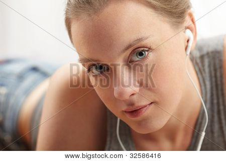 woman enjoying some music