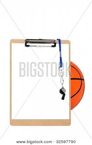 A coach's clipboard with blank sheet of paper, whistle and pencil rests against a basketball and is isolated on white.  Designers can place copy on the blank sheet of paper.