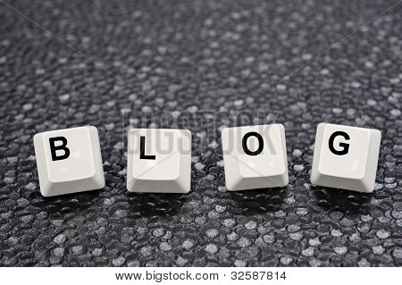 A set of computer keyboard keys spelling out BLOG.  Good for Internet and technology inferences.
