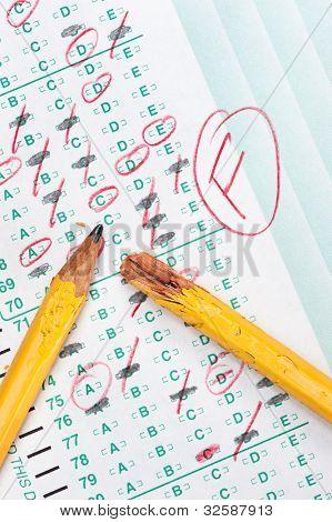 Forma gradual de la prueba con puntuación marcas de lápiz de rojo indica frustración y fracaso en la educación
