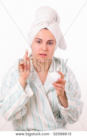 Beautiful Girl Makes Morning Hygiene