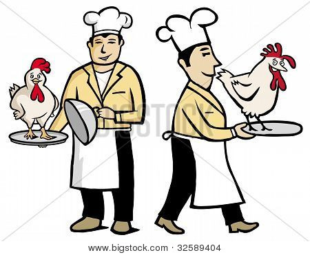 Chef holding a chicken in his hands