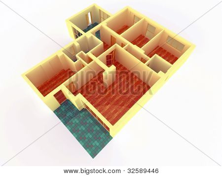 Perspective View Of Big Apartment With Walls