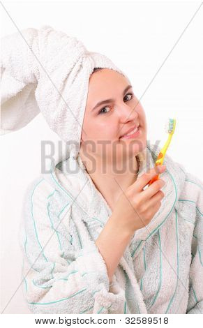 Pretty Young Girl With Tooth Brush